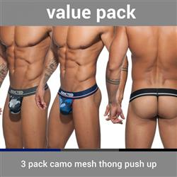 Addicted 3 Pack Camo Mesh Thong Push Up