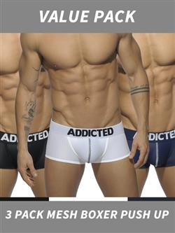 Addicted 3 Pack Mesh Boxer Push Up