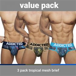 Addicted 3 Pack Tropical Mesh Brief