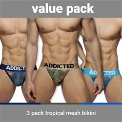 Addicted 3 Pack Tropical Mesh Bikini