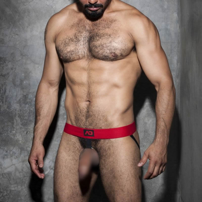 Addicted Fetish Cockring Jockstrap red