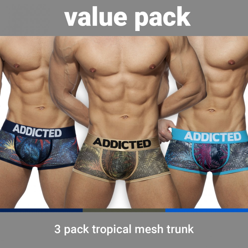 Addicted 3 Pack Tropical Mesh Trunk Push up