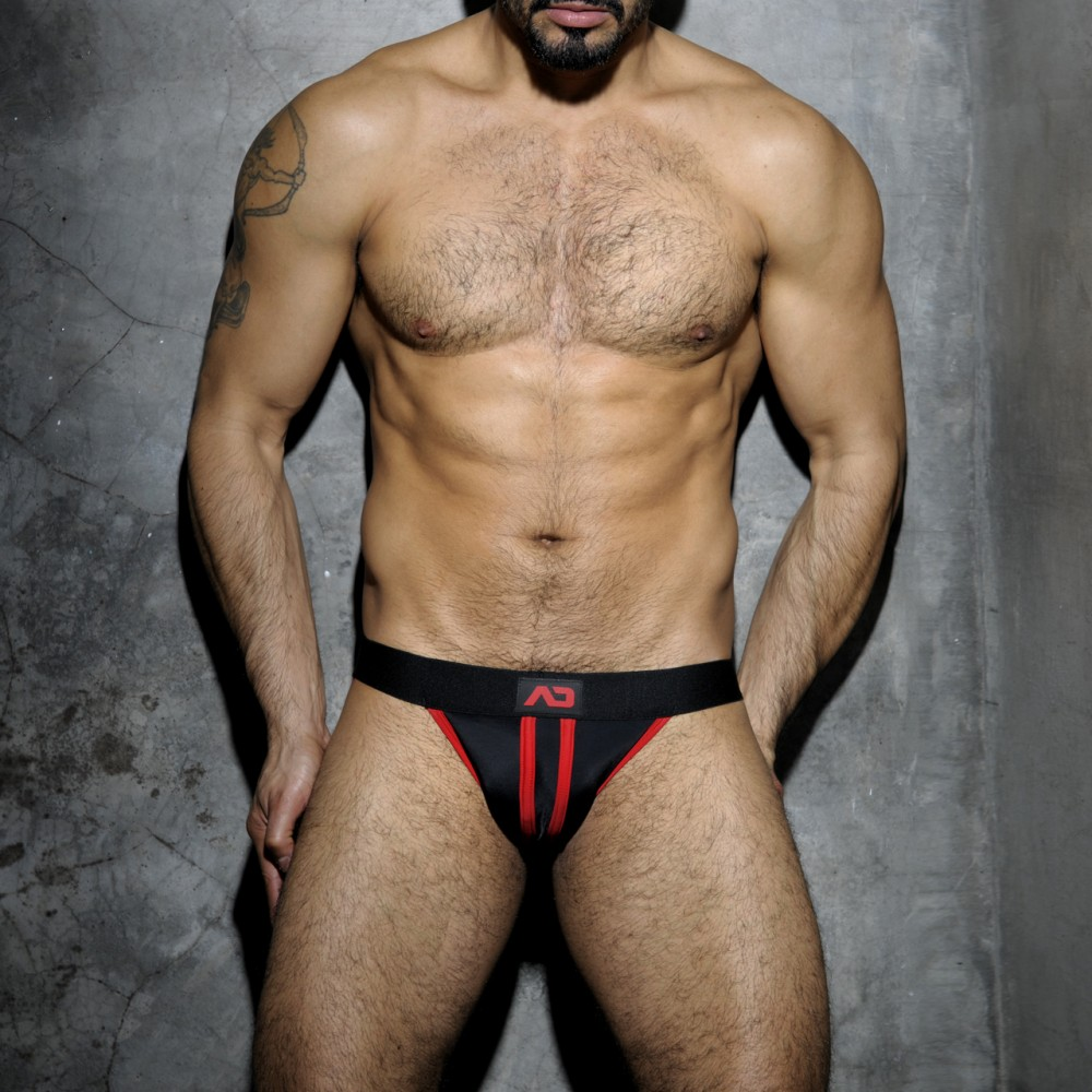 Addicted Stripe Fetish Jockstrap red